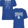 Los Angeles Dodgers 2020 National League Champions Bloop Single Roster T-Shirt